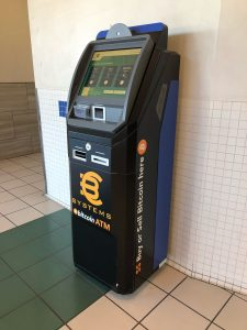 Bitcoin ATM in shopping mall in California, USA manufactured by ChainBytes bitcoin ATM company for BC Systems