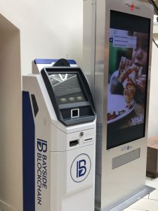Bitcoin ATM in shopping mall at Florida, USA manufactured by ChainBytes bitcoin ATM company for Bayside Blockchain